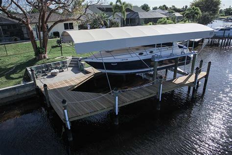 boat lift canopy cape coral cape coral dock builder photo gallery solar dock photos