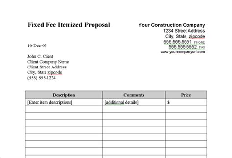 fixed fee itemized proposal construction work