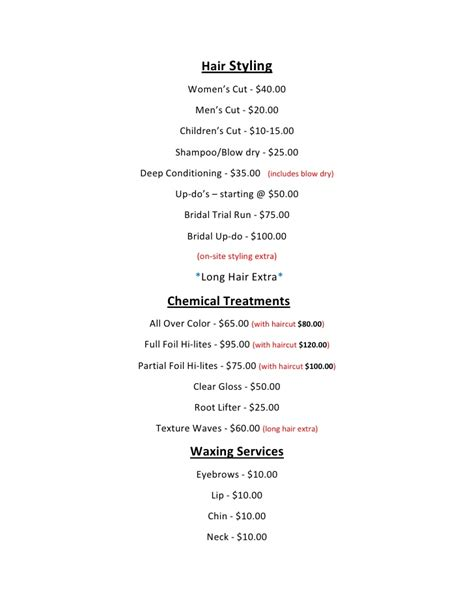 haircut price list hair styling oakes salon price list