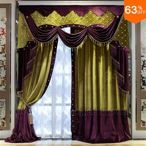 White Beads Purple With Green Patchwork Curtains For Hotel