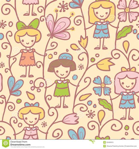 flowers seamless pattern element vector background girls with flowers seamless pattern background royalty