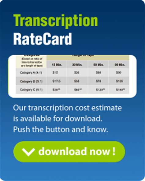 production rate card template transcription services rates pricing cost estimate