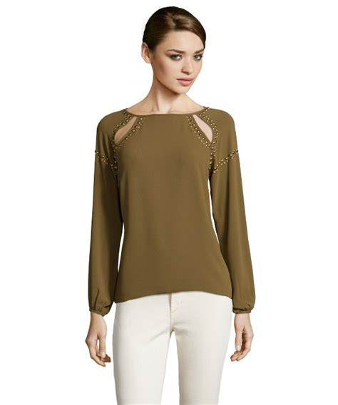 greylin olive chiffon studded cut out sleeve blouse in green lyst