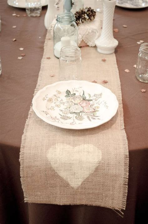burlap table runner vintage shabby chic rustic wedding