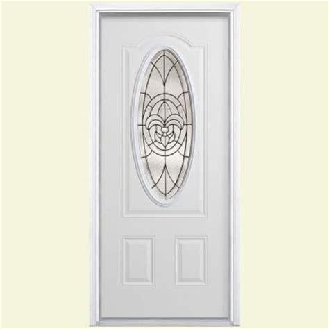 Masonite Fleur De Lis 3 4 Oval Lite Primed Steel Prehung Fleur De Lis Front Door