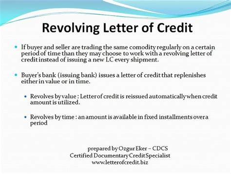 Revolving Letter Credit Exle Types Of Letters Of Credit Presentation 8 Lc Worldwide International Letter Of Credit