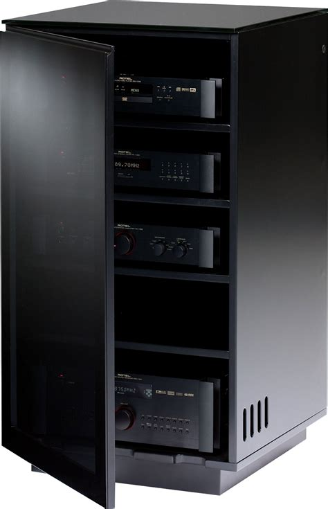 Tv Component Cabinet With Glass Doors by Bdi Mirage 8222 Bl Hifi Stands