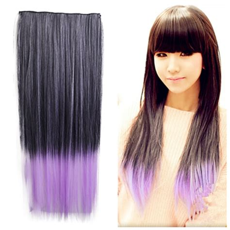 Hair Extension Ombre Gradient Wig Hair Clip Light Purple Pink 24 inches 60cm black to light purple ombre color clip in hair extension with 5 in