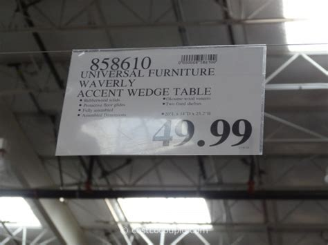 wedge end table costco universal furniture waverly accent wedge table