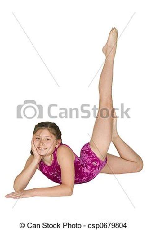 Vintage Home Floor Plans stock photo of 10 year old girl in gymnastics poses