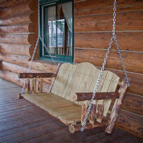 rustic porch swing amish rustic log porch swing