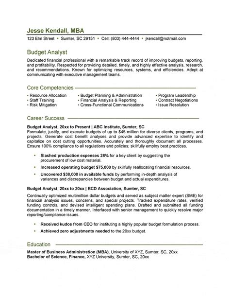 Financial Planning And Analysis Manager Cover Letter by Budget Analyst Resume
