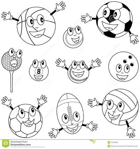 De Kleurende Karakters Van De Ballen Van De Sport Stock