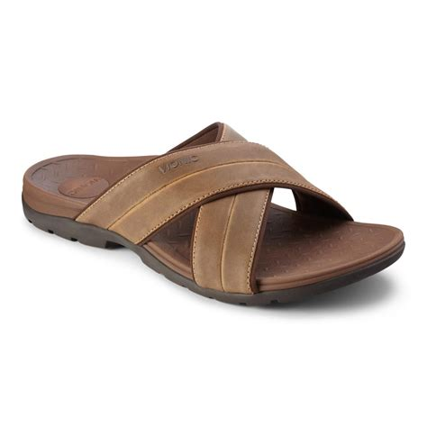 mens slide sandals vionic holbrook s leather slide sandals free