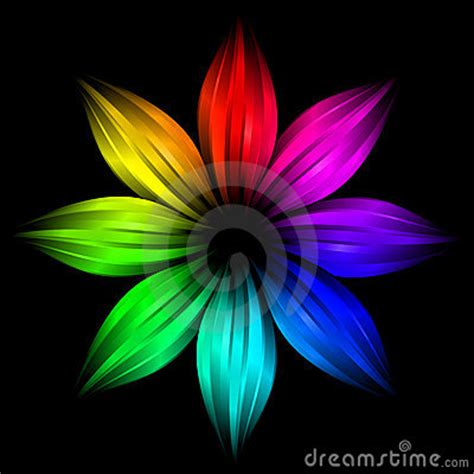 abstract futuristic rainbow flower stock image image