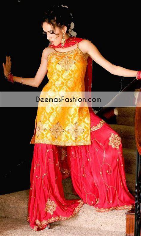 designer pics yellow red bridal mehndi wear gharara latest designer
