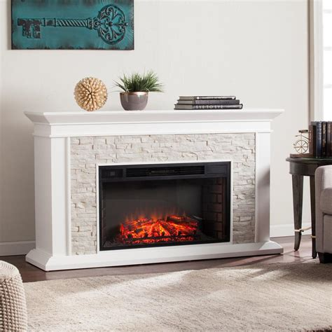 Electric Fireplace Faux by Ithaca 60 25 In W Faux Stacked Electric Fireplace