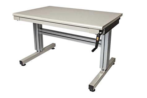 adjustable height work 2 leg hand crank adjustable height work table ergosource