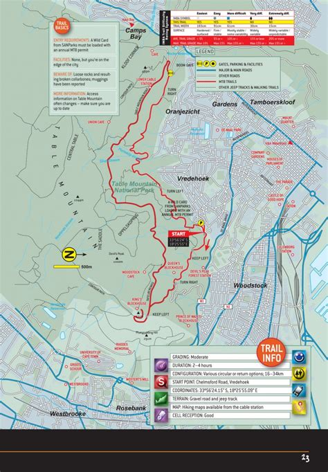 table mountain trail map table mountain national park cape town mtb routes map