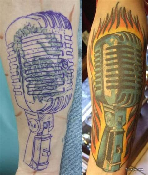 microphone tattoo cover up mic in flames tattoo coverup music tattoos pinterest