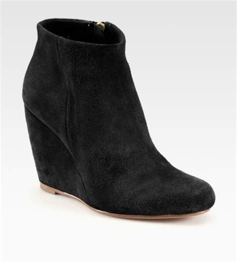 joie suede wedge ankle boots in black lyst