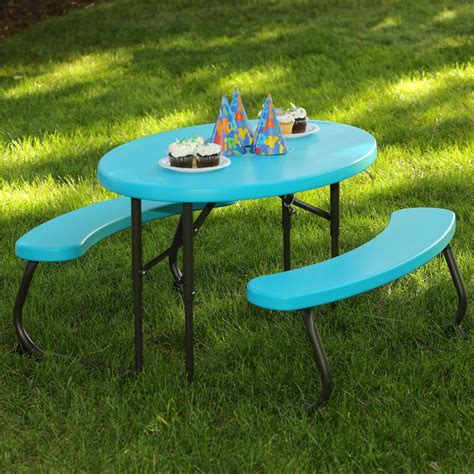 childrens folding picnic table lifetime oval 1 piece glacier blue kids picnic folding