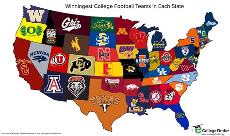 college map post grad problems the winningest college football programs in each state