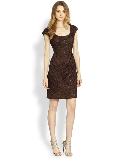 Dress Coklat Bhatique sue wong soutache embroidered cocktail dress in brown chocolate lyst