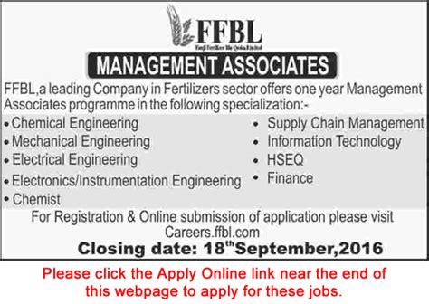 Fresh Mba Supply Chain In Karachi by Ffbl Management Associate 2016 September Apply
