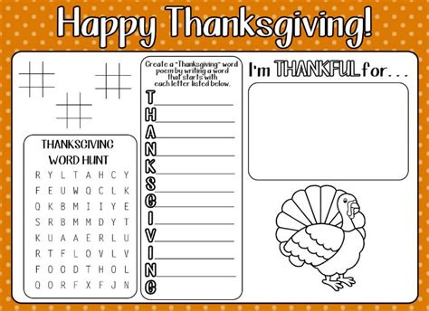 printable activity sheets for thanksgiving 12 free printable thanksgiving kids activity placemats and