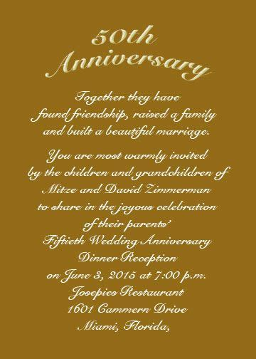 anniversary invitations 50th   Use an RSVP card for date