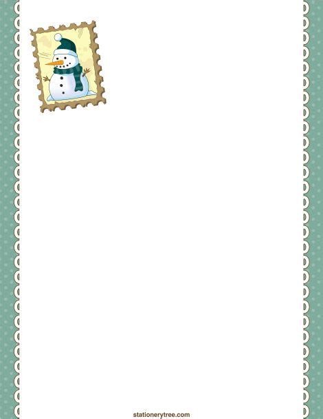 lined paper with snowman border printable snowman stationery and writing paper free pdf