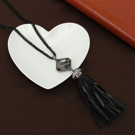 8 Necklaces To Give To Your by Trendy Leather Tassel Rhinestone Pendants Necklaces