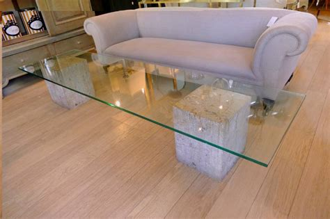 Travertine marble and glass coffee table by Luigi Moretti c.1965 in from Circus Antiques