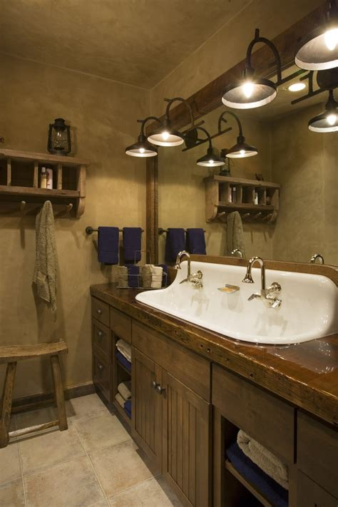 castiron  sink rustic mountain lodge bathroom wood