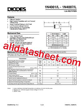diode 1n4001 datenblatt 1n4001 datasheet pdf diodes incorporated