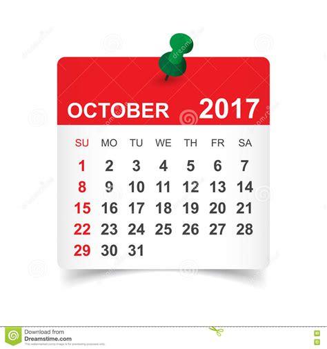 Calendar 2017 October 9 October 2017 Calendar Stock Vector Image 80260098