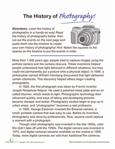 Photography Worksheets by History Of Photography Timeline Worksheet Education