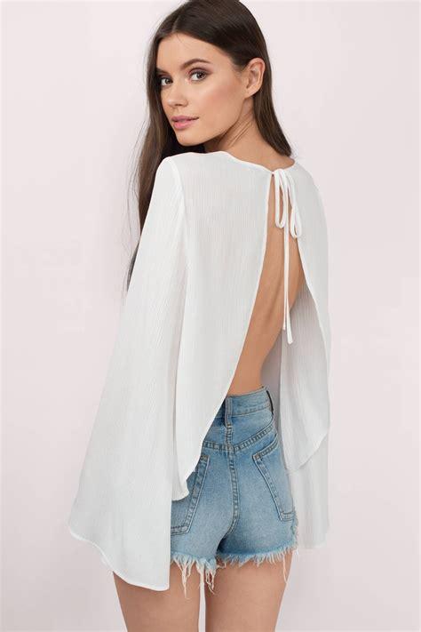 White Blous white blouse open back blouse white blouse