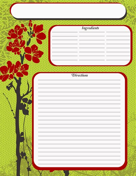 recipe templates for pages page recipe template free page green recipe