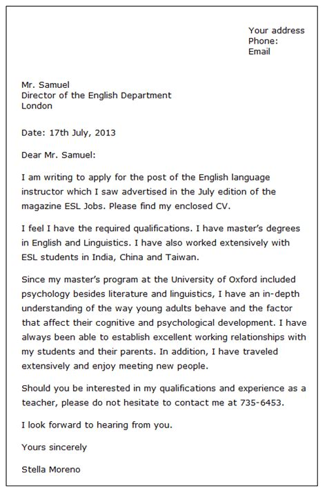 Letter Of Application: Formal Letter Of Job Application Sample