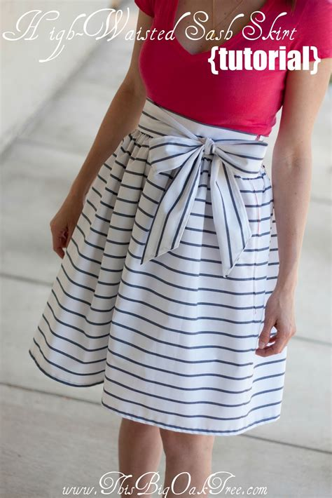 pattern sewing tutorial this big oak tree high waisted sash skirt tutorial