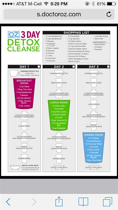Dr Oz Clean Detox Menu by 3 Day Detox Diet Plan Dr Oz Cowboytoday