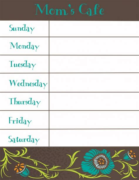 printable menu templates 30 family meal planning templates weekly monthly budget