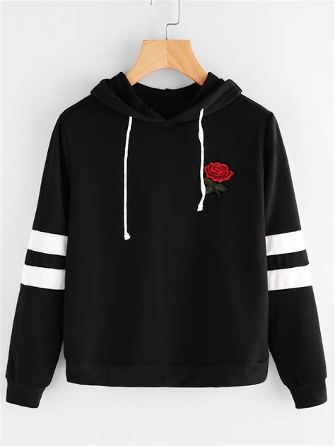 Hoodie Sweater Guns And Roses Merah Cloth patch stripe sleeve hoodie emmacloth fast fashion