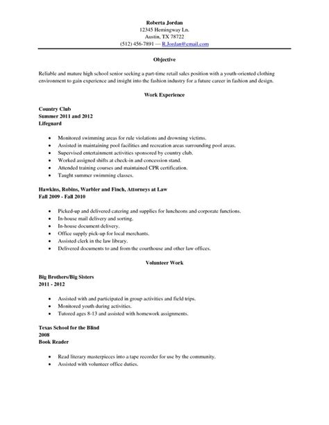 College Resume Sles For High School Senior exle of a college resume for a highschool senior