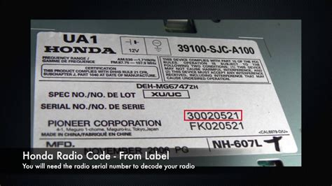 radio serial number honda honda radio codes from serial number civic accord crv