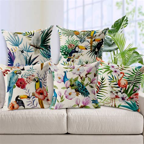 home design down pillow hand printed parrot peacock pillow covering flamingos