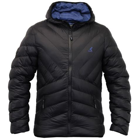 Padded Hooded Coat mens jacket kangol coat padded quilted hooded puffer