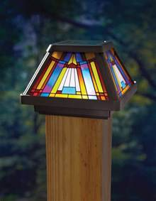stained glass outdoor lighting outdoor stained glass solar powered power led post cap